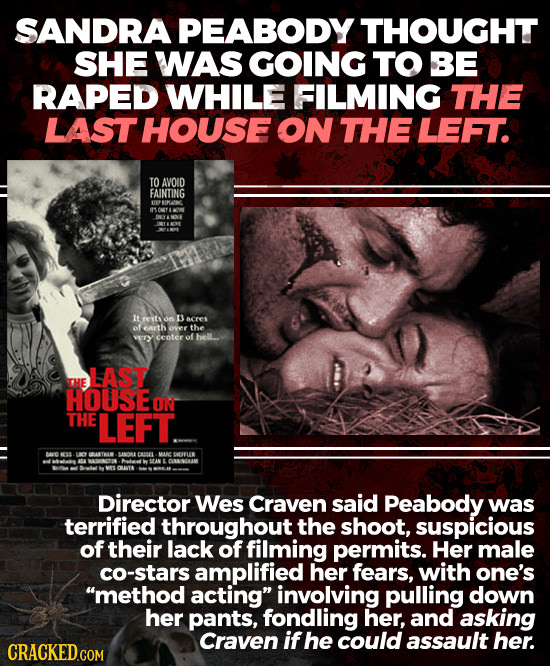 SANDRA PEABODY THOUGHT SHE WAS GOING TO BE RAPED WHILE FILMING THE LAST HOUSE ON THE LEFT. TO AVOID FAINTING EP it on 3 acres ofearth over the vErY ce