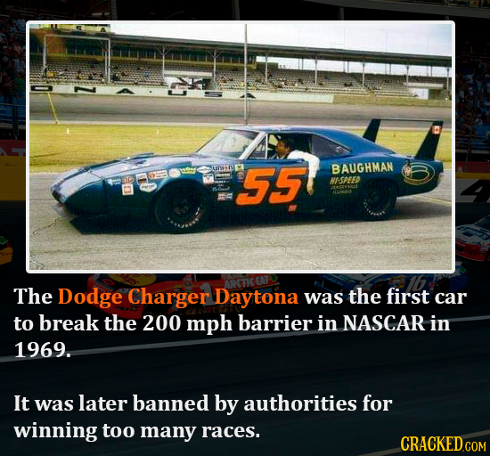 Z uTD 55 BAUGHMAN HASPEED The Dodge Charger Daytona was the first car to break the 200 mph barrier in NASCAR in 1969. It was later banned by authoriti