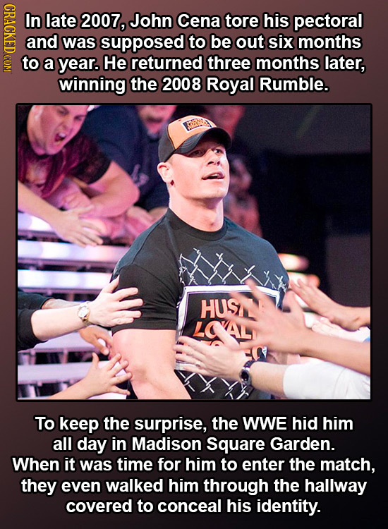 CRROR In late 2007, John Cena tore his pectoral and was supposed to be out six months to a year. He returned three months later, winning the 2008 Roya
