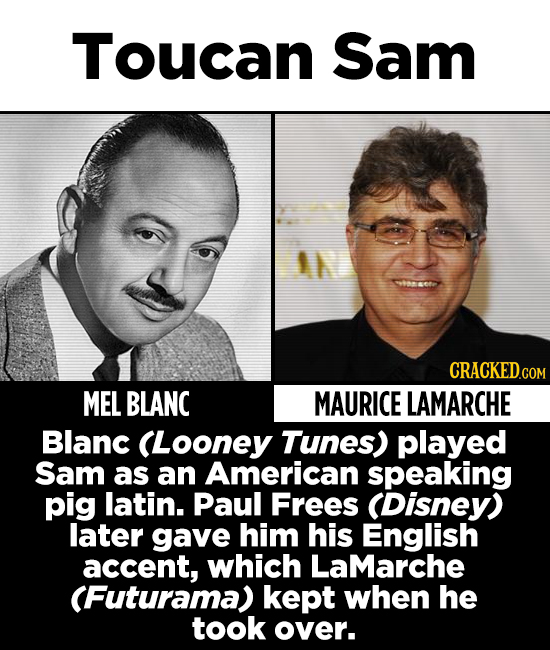 Toucan Sam IL MEL BLANC MAURICE LAMARCHE Blanc (Looney Tunes) played Sam as an American speaking pig latin. Paul Frees (Disney) later gave him his Eng