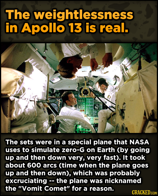 Surprising Ways Beloved Movies Accomplished Their Effects - The weightlessness in Apollo 13 is real.