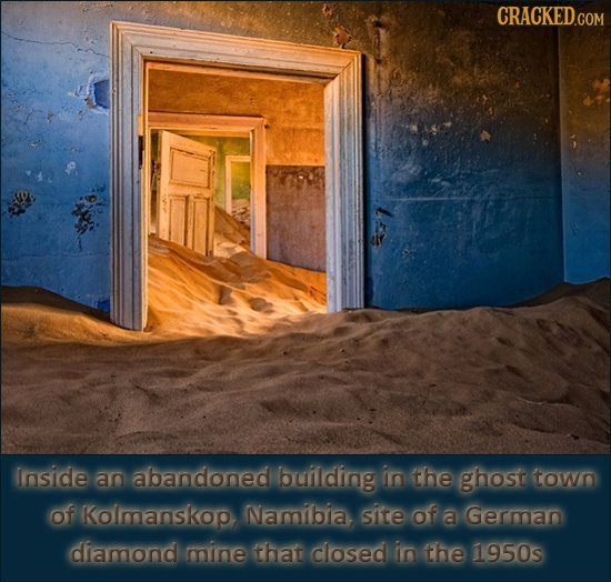CRACKEDGOM Inside an abandoned building in the ghost town of Kolmanskop Namibia site of a German diamond mine that closed in the 1950s