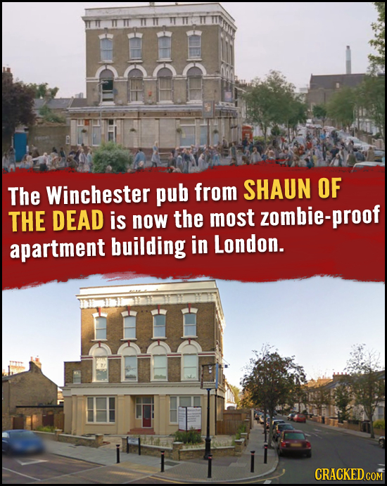 The Winchester pub from SHAUN OF THE DEAD is now the most zombie-proof apartment building in London. CRACKED COM