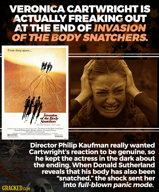 VERONICA CARTWRIGHT IS ACTUALLY FREAKING OUT AT THE END OF INVASION OF THE BODY SNATCHERS. From deep space... eebl Imssion of the Bodly Smtchers af th