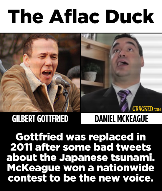 The Aflac Duck CRACKED.COM GILBERT GOTTFRIED DANIEL MCKEAGUE Gottfried was replaced in 2011 after some bad tweets about the Japanese tsunami. Mckeague