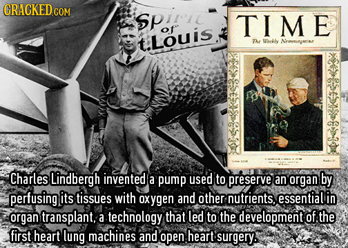CRACKEDo Sprri TIME of t.Louis The Wocify Nrmeoyatine Charles Lindbergh invented a pump used to preserve an organ by perfusing its tissues with oxygen