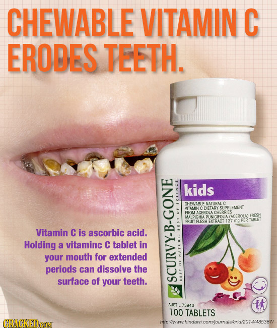 CHEWABLE VITAMIN C ERODES TEETH. kids CHEWABLE NATURAL c ScE VITAMIN CDIETARY SUPPLEMENT FROM ACEROLACHERRIES OF MALDIGHIA PUNICIFOLIA CACEROLAT FRESH