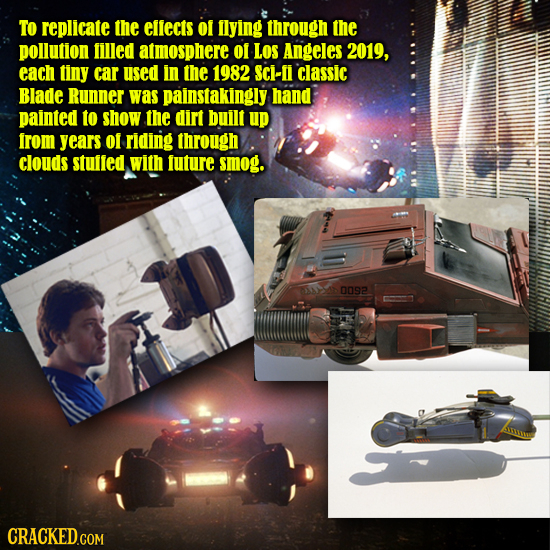 To replicate the efiects o ilying through the pollution filled atmosphere of LOS Angeles 2019, each tiny car used in the 1982 SCi-i Classic Blade Runn