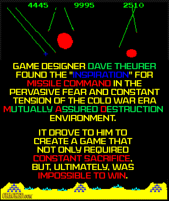 4445 9995 2510 GAME DESIGNER DAVE THEURER FOUND THE INSPIRATION FOR MISSILE COMMAND IN THE PERVASIVE FEAR AND CONSTANT TENSION OF THE COLD WAR ERA M