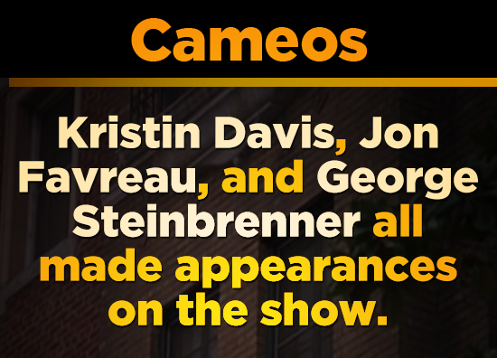 Cameos Kristin Davis, Jon Favreau, and George Steinbrenner all made appearances on the show.