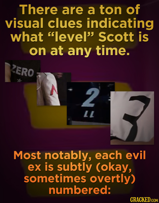 There are a ton of visual clues indicating what level Scott is on at any time. 2ERO 2 LL Most notably, each evil ex is subtly (okay, sometimes overt