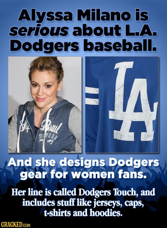 Alyssa Milano is serious about L.A. Dodgers baseball. al 88804 ofg And she designs Dodgers gear for women fans. Her line is called Dodgers Touch, and