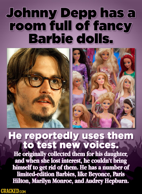 Johnny Depp has a room full of fancy Barbie dolls. 3 He reportedly uses them to test new voices. He originally collected them for his daughter, and wh