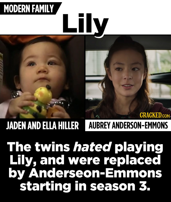MODERN FAMILY Lily JADEN AND ELLA HILLER AUBREY ANDERSON-EMMONS The twins hated playing Lily, and were replaced by Anderseon-Emmons starting in season