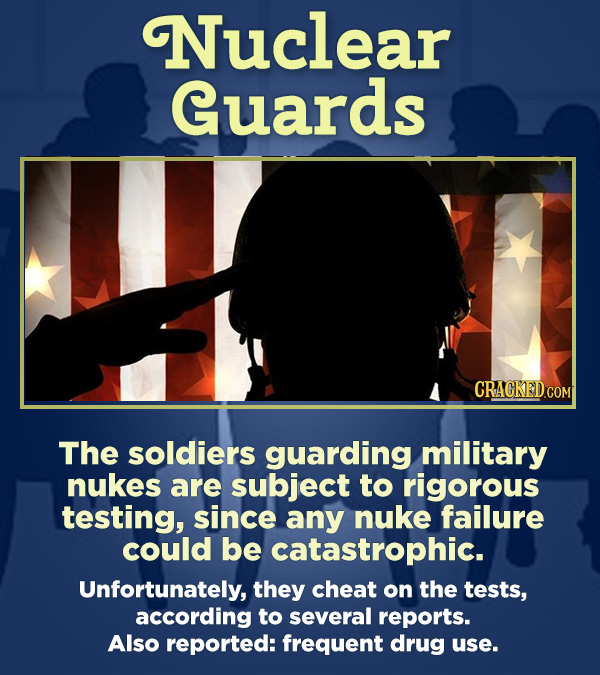 15 Respected Groups Who Aren't So Elite As People Say - The soldiers guarding military nukes are subject to rigorous testing, since any nuke failure c