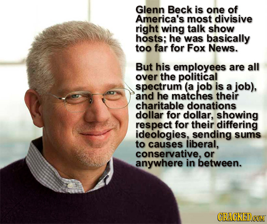 Glenn Beck is one of America's most divisive right wing talk show hosts; he was basically too far for Fox News. But his employees are all over the pol