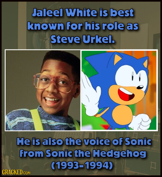 Jaleel White is best known for his role as Steve Urkel. He is also the voice Of Sonic from Sonic the Hedgehog (1993-1994) CRACKED COM COM