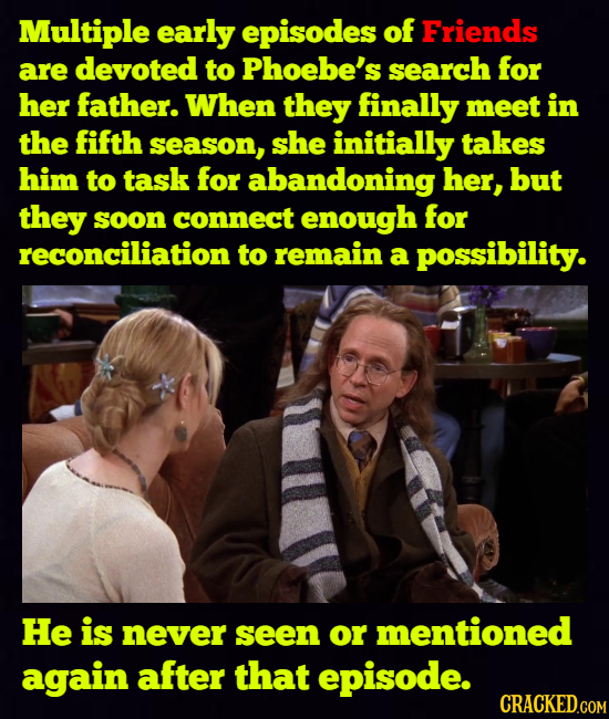 Multiple early episodes of Friends are devoted to Phoebe's search for her father. When they finally meet in the fifth season, she initially takes him