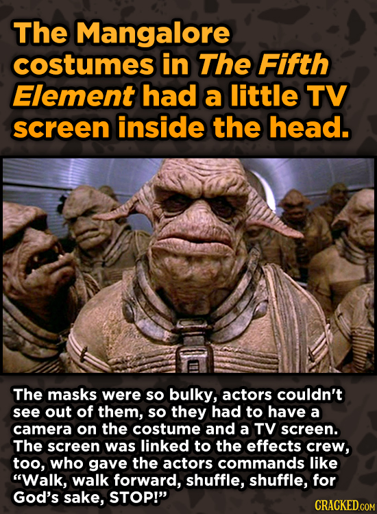 Surprising Ways Beloved Movies Accomplished Their Effects - The Mangalore costumes in The Fifth Element included a little TV screen inside the head.
