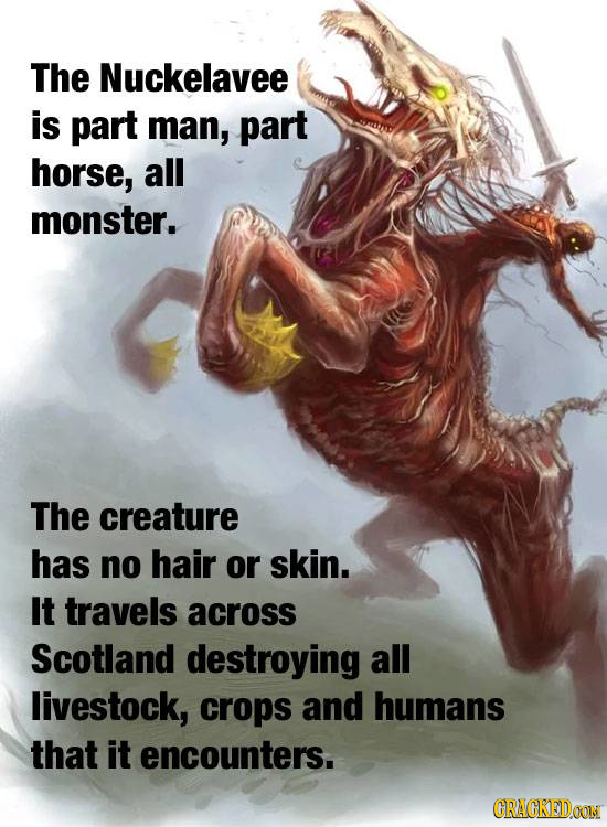 The Nuckelavee is part man, part horse, all monster. The creature has no hair or skin. It travels across Scotland destroying all livestock, crops and