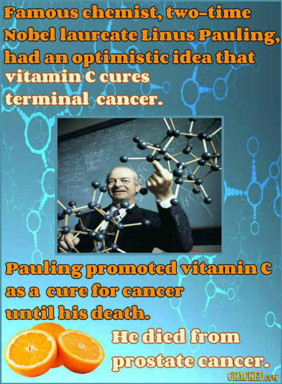 Famous chemist, two-time Nobel laureate Linus Pauling, had an optimistic idea that vitamin C cures terminal cancer. Pauling promoted vitaminc as a cur