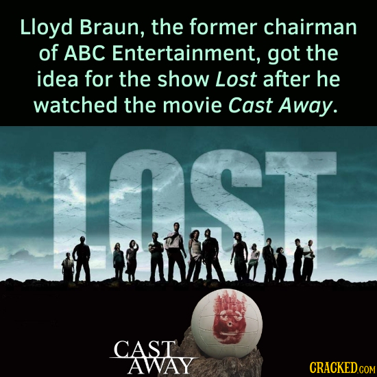 Lloyd Braun, the former chairman of ABC Entertainment, got the idea for the show Lost after he watched the movie Cast Away. CAST AWAY