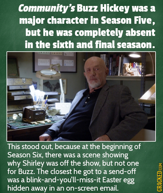 Community's Buzz Hickey was a major character in Season Five, but he was completely absent in the sixth and final seasaon. This stood out, because at