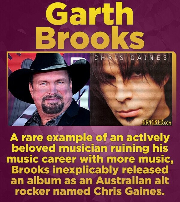 Garth Brooks CHRIS GAIN E S A rare example of an actively beloved musician ruining his music career with more music, Brooks inexplicably released an a