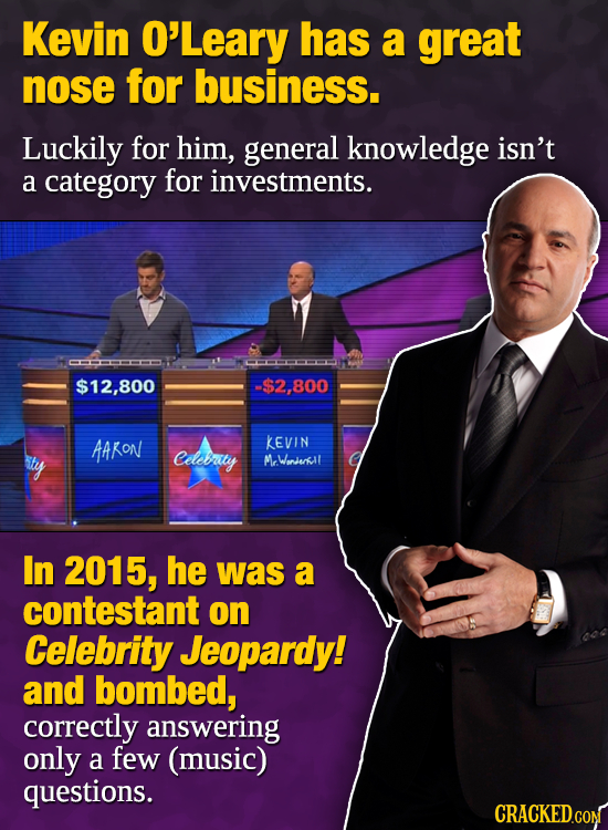 Kevin O'Leary has a great nose for business. Luckily for him, general knowledge isn't a category for investments. CMOOOMH $12,800 $2,800 AAKON KEVIN C