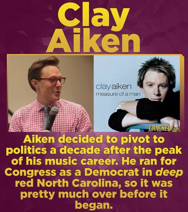 Clay Aiken clay aiken measure of a man Aiken decided to pivot to politics a decade after the peak of his music career. He ran for Congress as a Democr