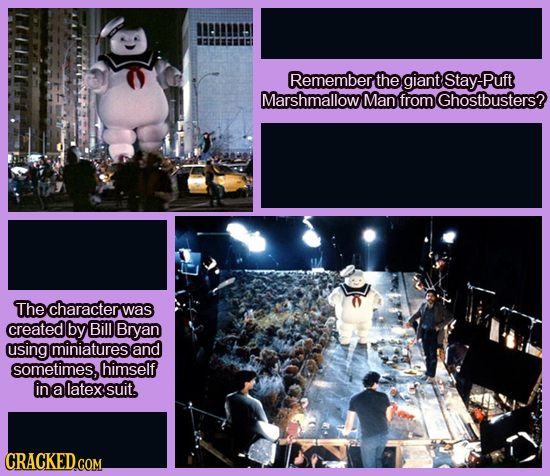 Remember the giant Stay Puft Marshmallow Man from Ghostbusters? The character was created by Bill Bryan using miniatures and sometimes, himself in a l