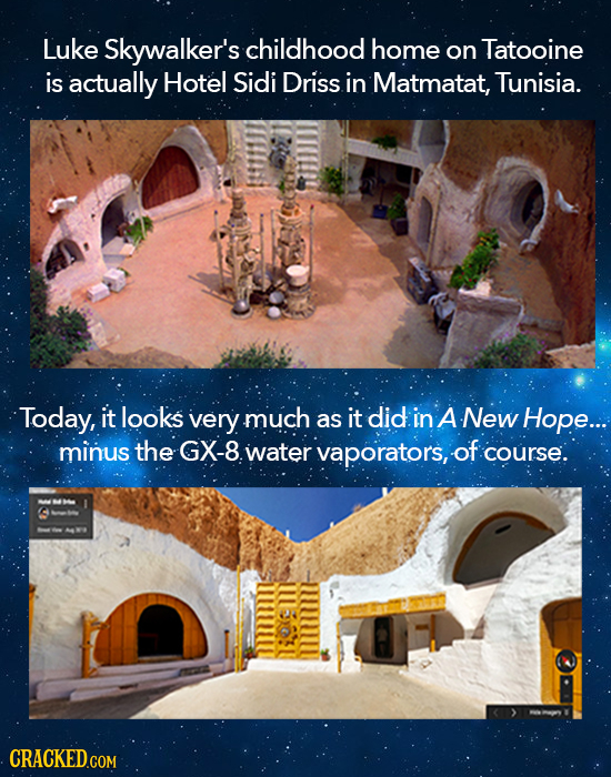 Luke Skywalker's childhood home on Tatooine is actually Hotel Sidi Driss in Matmatat, Tunisia. Today, it looks very much as it did in A New Hope.... m