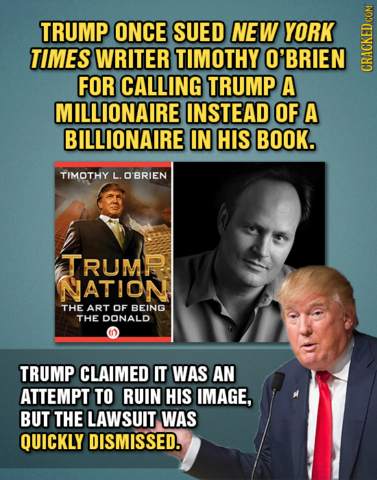 TRUMP ONCE SUED NEW YORK TIMES WRITER TIMOTHY O'BRIEN FOR CALLING TRUMP A CRaun MILLIONAIRE INSTEAD OF A BILLIONAIRE IN HIS BOOK. TIMOTHY L. O'BRIEN T