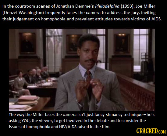 In the courtroom scenes of Jonathan Demme's Philadelphia (1993), Joe Miller (Denzel Washington) frequently faces the camera to address the jury, invit
