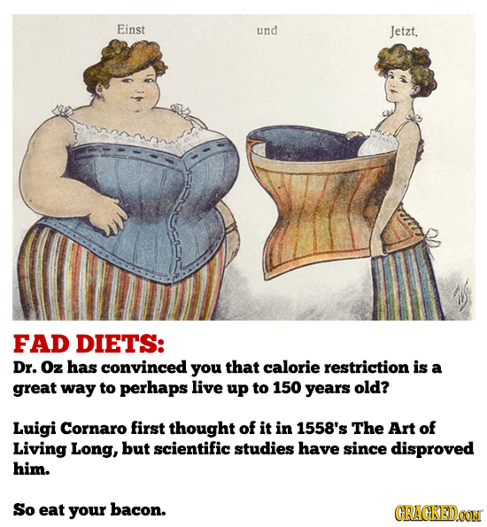 Einst und Jetzt, FAD DIETS: Dr. Oz has convinced you that calorie restriction is a great way to perhaps live up to 150 years old? Luigi Cornaro first