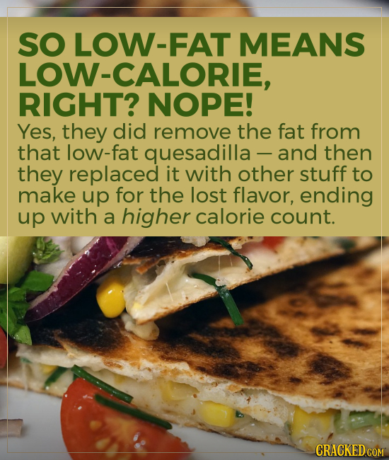 SO LOW-FAT MEANS LOW-CALORIE, RIGHT? NOPE! Yes, they did remove the fat from that low-fat quesadilla and then they replaced it with other stuff to mak