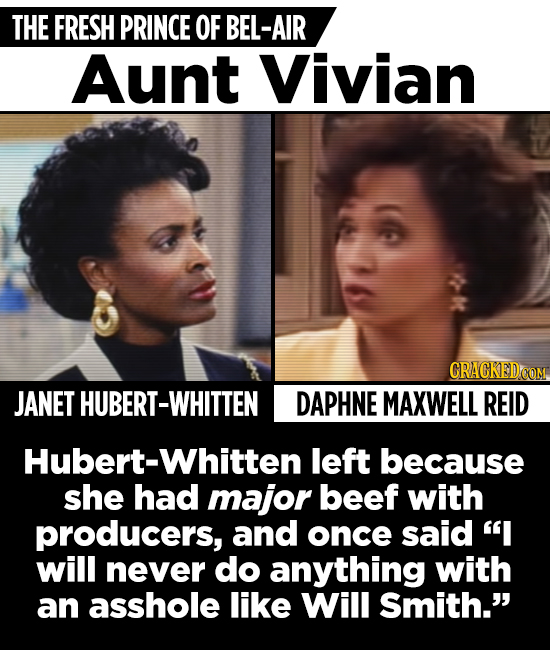 THE FRESH PRINCE OF BEL-AIR Aunt Vivian CRACKEDO JANET HUBERT-WHITTEN DAPHNE MAXWELL REID Hubert-Whitten left because she had major beef with producer