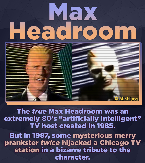 Max Headroom CRACKED COM The true Max Headroom was an extremely 80's artificially intelligent TV host created in 1985. But in 1987, some mysterious