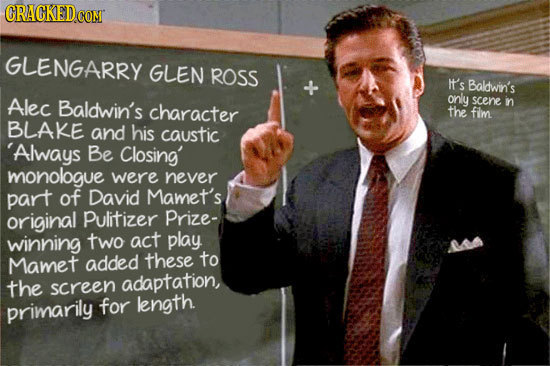 CRACKEDC coN GLENGARRY GLEN ROSS It's Baldwin's Alec Baldwin's only scene character in the fim BLAKE and his caustic Always Be Closing' monologue were