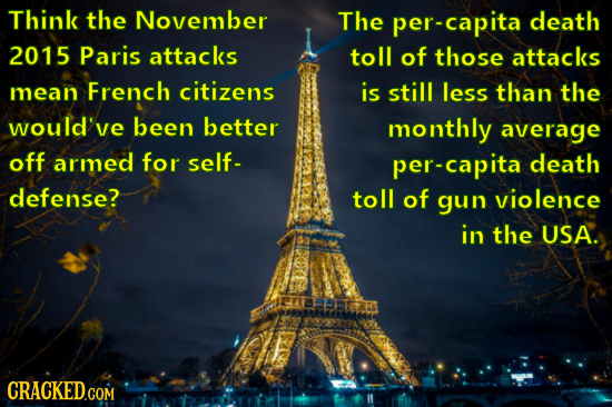 Think the November The per-capita death 2015 Paris attacks toll of those attacks mean French citizens is still less than the would've been better mont