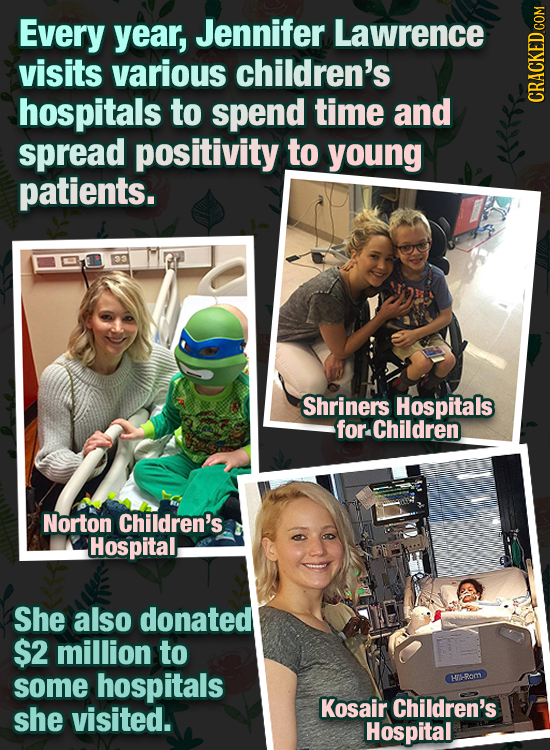 Every year, Jennifer Lawrence visits various children's hospitals to spend timE and cRAu spread positivity to young patients. Shriners Hospitals for C