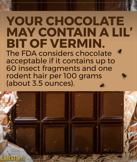YOUR CHOCOLATE MAY CONTAIN A LIL' BIT OF VERMIN. The FDA considers chocolate acceptable if it contains up to 60 insect fragments and one rodent hair p
