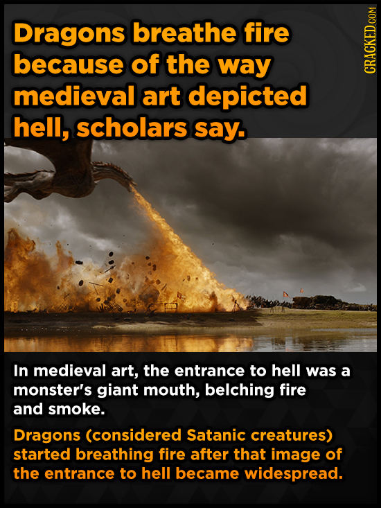 Dragons breathe fire because of the way medieval art depicted hell, scholars say. In medieval art, the entrance to hell was a monster's giant mouth, b