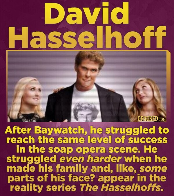 David Hasselhoff CRACKEDCON After Baywatch, he struggled to reach the same level of success in the soap opera scene. He struggled even harder when he