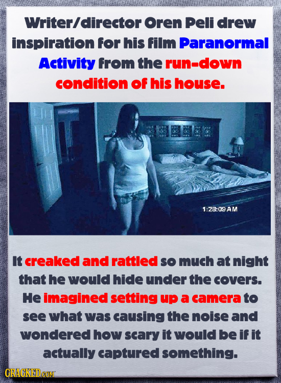 Writerldirector Oren Peli drew inspiration for his film Paranormal Activity From the run-down condition Of his house. 1 :28:09 AM It creaked and rattl
