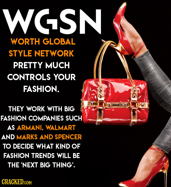 WCSN WORTH GLOBAL STYLE NETWORK PRETTY MUCH CONTROLS YOUR FASHION. THEY WORK WITH BIG FASHION COMPANIES SUCH AS ARMANI, WALMART AND MARKS AND SPENCER