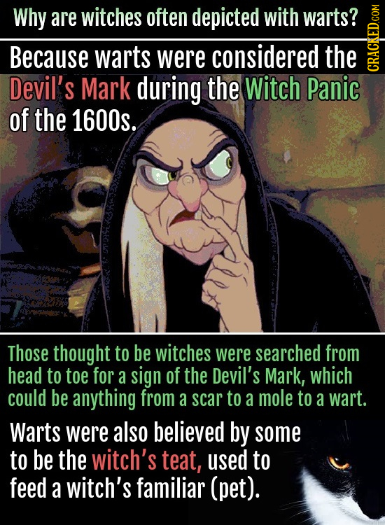 Why are witches often depicted with warts? Because warts were considered the Devil's Mark during the Witch Panic cRA of the 1600s. Those thought to be