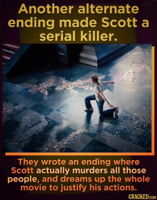 Another alternate ending made Scott a serial killer. They wrote an ending where Scott actually murders all those people, and dreams up the whole movie