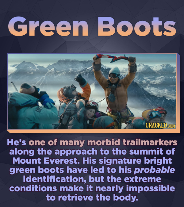 Green Boots He's one of many morbid trailmarkers along the approach to the summit of Mount Everest. His signature bright green boots have led to his p
