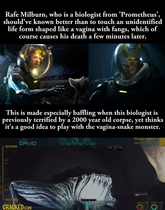 Rafe Milburn, who is biologist from a 'Prometheus', should've known better than to touch an unidentified life form shaped like of a vagina with fangs,